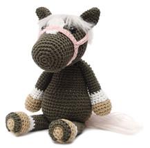 Brown-Grey Wild Horse Handmade Amigurumi Stuffed Toy Knit Crochet Doll VAC - $24.75