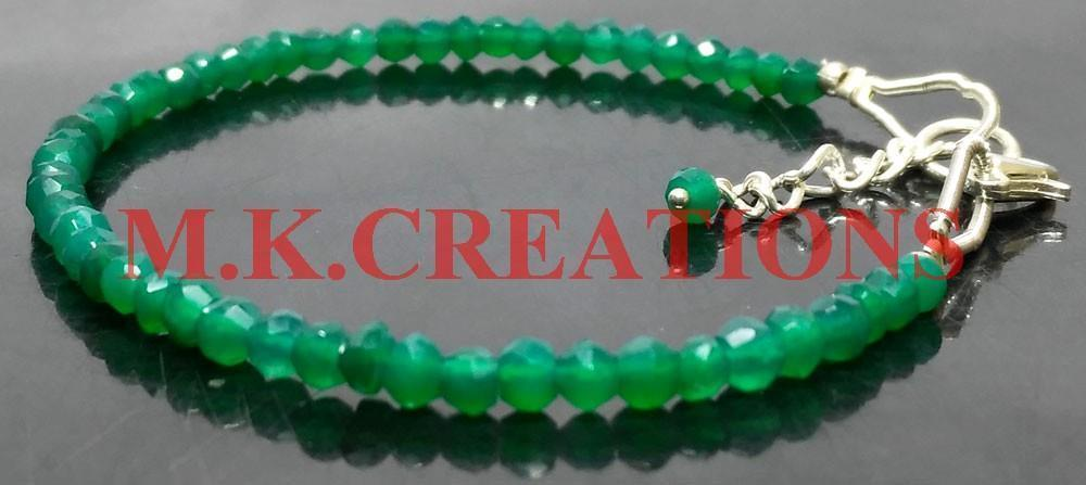 "Primary image for Natural Green Onyx 3-4mm Beads 6"" Long 925 Silver Beaded Chain Bracelet"