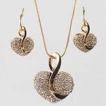 Jewelry Sets vintage Heart pendant wedding 18K Gold Plated lace earrings - $10.99