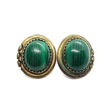 Native American 925 Sterling Silver & Copper Green Malachite Stud Earrings - $17.81