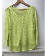 Chicos Fish Net SWEATER Open Knit Top and Sleeveless TANK SET Lime Green... - $28.95