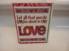 Love handmade blank inside greeting card, pink red, yellow - $2.75