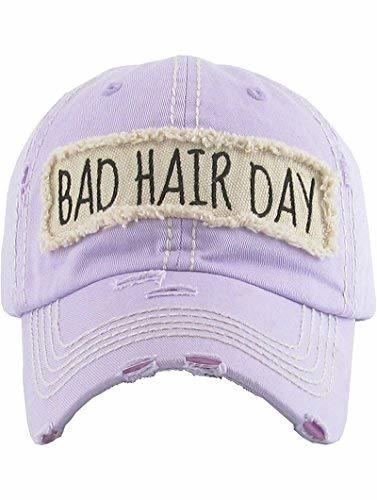 scarlettsbags Distressed Vintage Style Bad Hair Day Hat Baseball Cap (Purple)