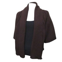 Berretti Womens Brown Short Sleeve Wool Cableknit Open Cardigan Sweater ... - $17.82