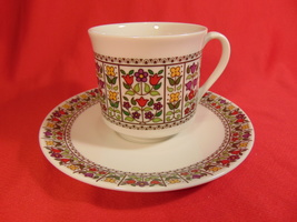 """2 7/8"""" Cup and Saucer, From Royal Doulton, in the Fireglow TC 1080  - $11.99"""