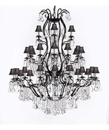 Large Foyer/Entryway Wrought Iron Chandelier Lighting With Crystal and B... - $1,160.80
