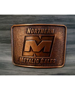 Vintage NORTHERN METALIC SALES Belt Buckle CANADA Souvenir OIL GAS DRILLING - $14.95