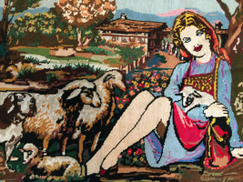 "Large Completed Collection D'Art (?) needlepoint Girl w/ Sheep 28"" x 19"" - $29.69"