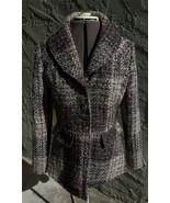 Womens Medium Purple, Gray, Brown, Cream & Black Tweed Shawl Collar Pea ... - $50.00