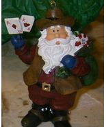 Southwestern Cowboy Santa Poker Playing Gambling Ornament - $9.89
