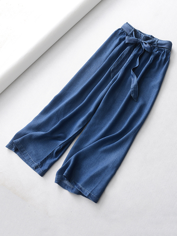 Dark Blue Denim Crop Wide Leg Pants Womens High Waisted Denim Palazzo Pants NWT