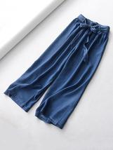 Dark Blue Denim Crop Wide Leg Pants Womens High Waisted Denim Palazzo Pants NWT image 7