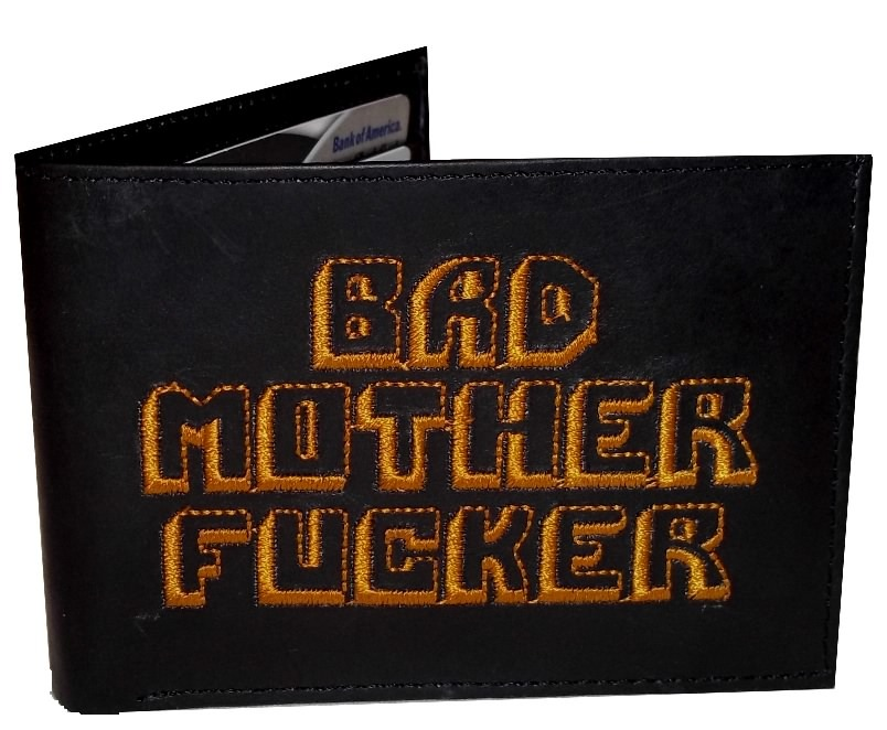 Primary image for Pulp Fiction BMF Leather Embroidered Black Wallet