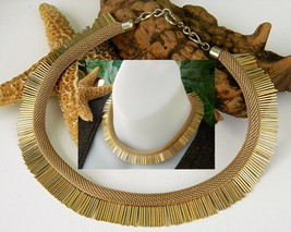 Vintage Cleopatra Woven Choke Necklace Plates Goldtone Metal - $49.95