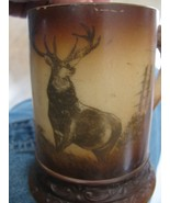 c.1910 WSC Horn Handled Milk Glass Mug - Brown cased with a Standing Elk - $20.00