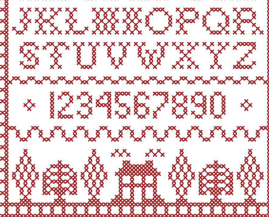 Scarlet Square Redwork Sampler PDF cross stitch chart John Shirley new designer