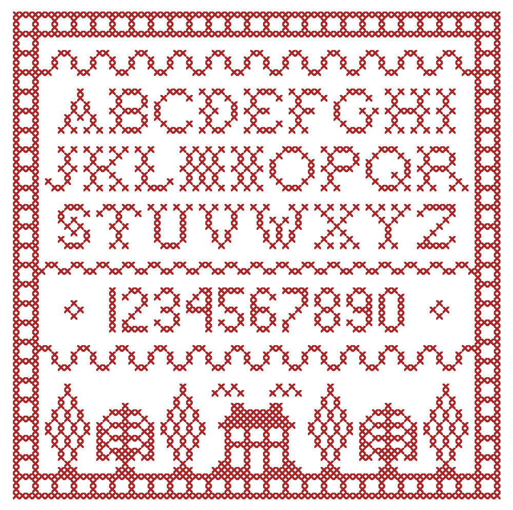 Scarlet Square Redwork Sampler PDF cross stitch chart John Shirley new designer