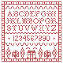 Scarlet Square Redwork Sampler PDF cross stitch chart John Shirley new designer - $89,02 MXN