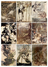 Printable Witches  Wizards & Mythical Creatures Digital Collage Sheet Ar... - $2.50