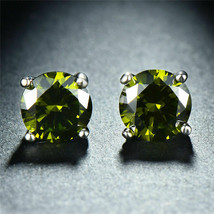 Martini Round Cut Peridot CZ  925 Sterling Silver Stud Earrings New  - $7.83