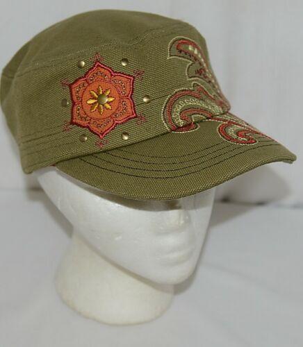 Karma Brand KA100714 Olive Green Floral and Filigree Brigade Hat