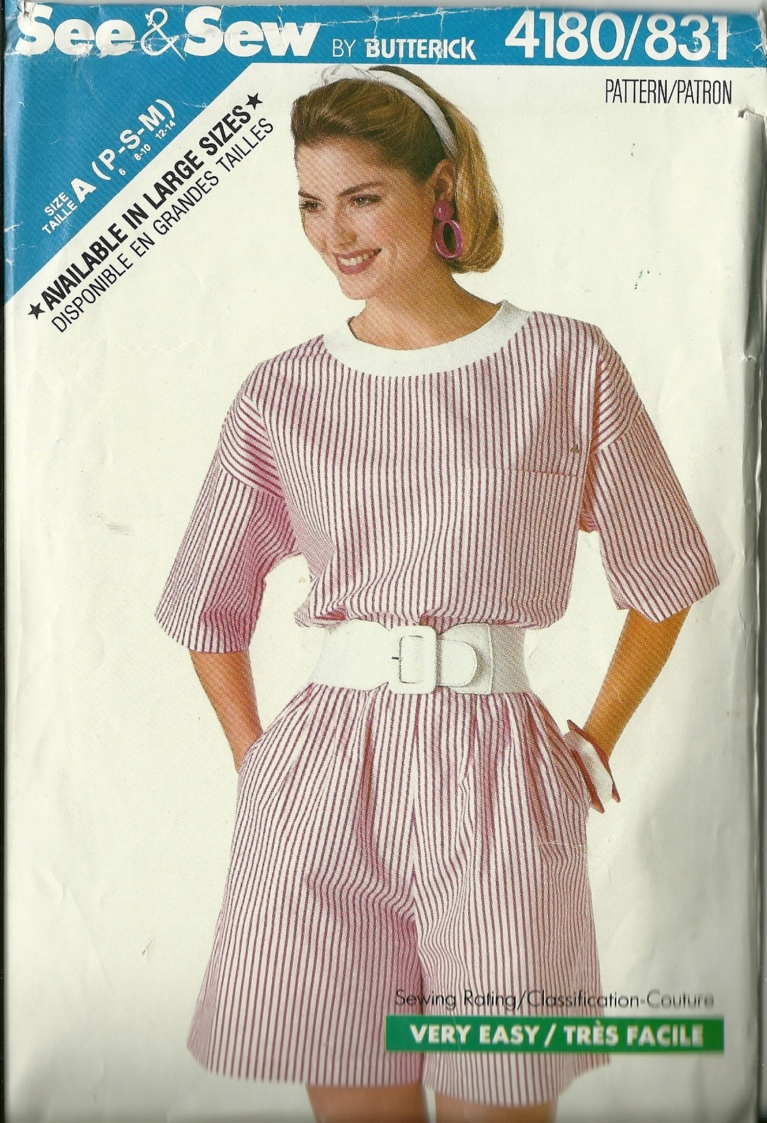 See And Sew Sewing Pattern 4180 831 Misses Womens Top Shorts 6 8 10 12 14 Used - $9.98