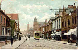 Normanton Road and Trolley Derby England 1908 Post Card - $6.00