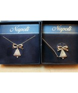 Napoli Christmas Holiday Articulating Silver Bell Necklace Brooch Pin CZ - $49.48