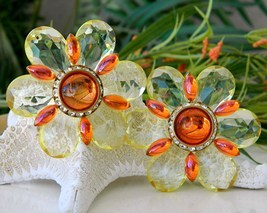 Vintage Lucite Flower Earrings Yellow Orange Plastic Rhinestone Large - $59.95