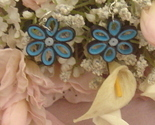 Paper Quilled Blue Handcrafted Flower Earrings