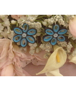 Paper Quilled Blue Handcrafted Flower Earrings  - $9.95