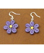 Paper Quilled handcrafted purple flower earrings New - $9.95