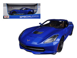 2014 Chevrolet Corvette Stingray C7 Z51 Blue 1/18 Diecast Model Car by M... - $39.99