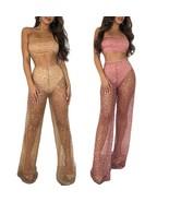 Women Clothing Set Sexy Sequined Mesh Tube Top Elastic Waist Wide Leg Pa... - $28.99