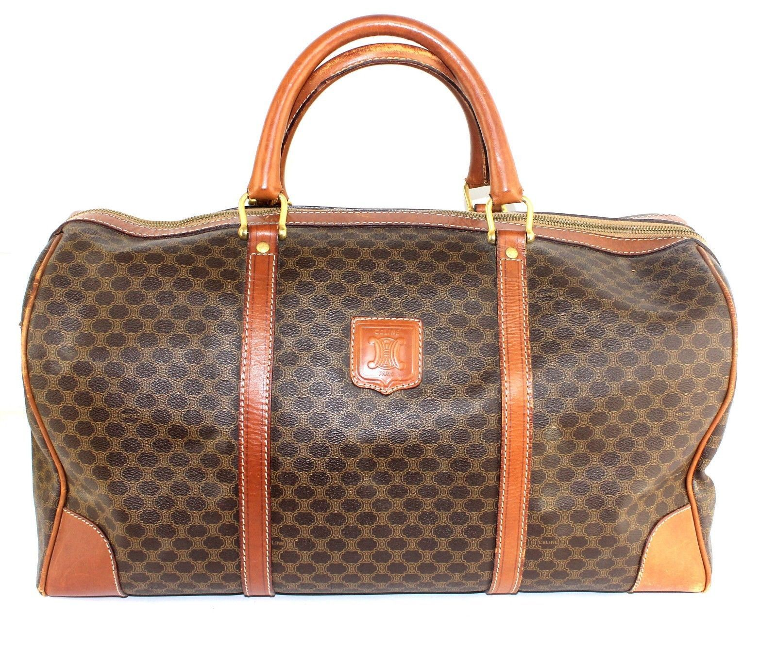 bc2f076a73 S l1600. S l1600. Previous. Auth CELINE paris macadam pattern PVC leather Travel  Boston 45 hand Bag Brown