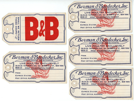 Lot five antique vintage advertising poultry tags Berman Baedecker New Y... - $28.00