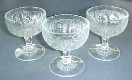 3  Depression Glass tall crystal sherbets in th... - $14.66