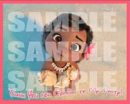 Baby Moana Party Favor ~~LABELS ONLY~ Thank you Decals Stickers Loots Pa... - $14.80