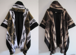 Llama Poncho Hood Wool Black Coat Mens Cape and 50 similar items