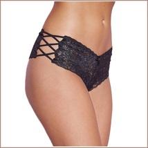 Floral Lace Open Criss Cross Sides Below The Waist Boy Cut Panties image 4