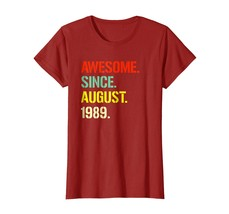 Brother Shirts - 29th Birthday Gift Awesome since August 1989 29 Years Shirt Wow - $19.95+