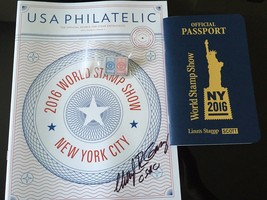 2016 NYC WORLD STAMP SHOW OFFICIAL PASSPORT& *SIGNED* SHOW CATALOG FREE ... - $10.39