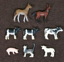 8 Pc Lot Schleich Farm Animals Horses Pig Cows Pig Lamb Cat - $24.99