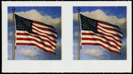5052 Color Omitted and Imperforate ERROR Pair Forever Flag Stamp - Stuar... - $125.00