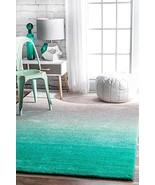 Modern Shag Rug Ombre Teal Grey Shaggy Area Rug Carpet Floor Mat Soft Fl... - $175.97