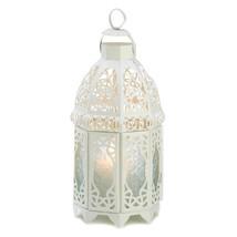 Metal Lantern, White Lattice Decorative Floor Patio Rustic Outdoor Lanterns - €22,78 EUR