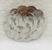 Brooch Pin Ladye Fayre Ste Round Etched Engraved Floral Scalloped Edge V... - $12.86