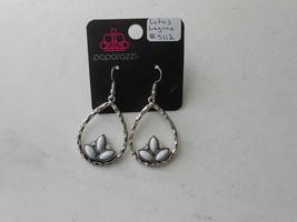 Paparazzi Earrings (New) Lotus Laguna #5112 - Gray - $8.58