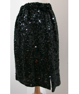 SKC Skirt 100% Pure Silk Black Sequin Thick Elastic Waist NWOT M - $62.99