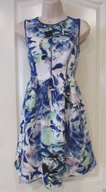 Apt. 9® Scuba Blue Flroal  Fit & Flare Dress - Women's Petite Sz M. NWT ... - $29.35